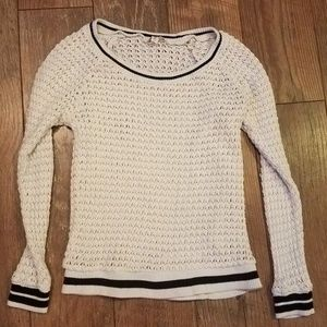 Ella Moss Anthropologie White Black Crew Sweater S
